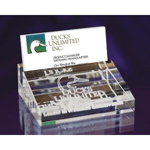 "Crystal Business Card Holder (3 3/4""x1 1/4""x3 1/8"")"